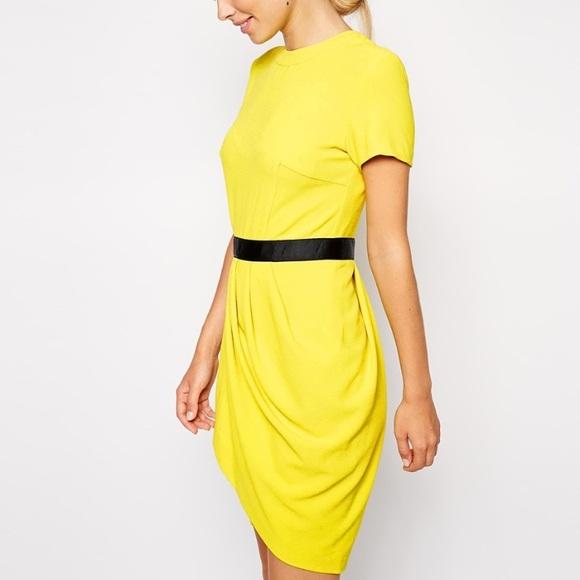 9e91d8b4eef Asos tulip crepe dress in yellow size 4